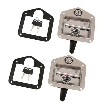 2x Toolbox Lock Stainless Door Keys Latch Paddle Handle for RV Trailer Truck