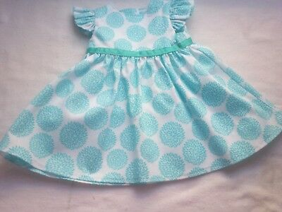 """American Made 18"""" Girl Doll Clothes Blue Flowers on White Ruffled Sleeves Dress"""