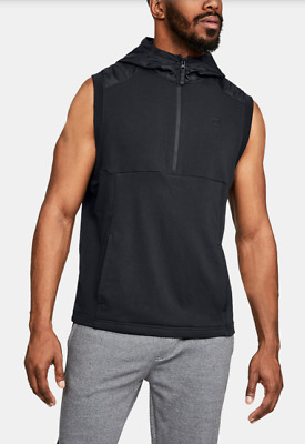 c9623aaa066 NWT Men's Under Armour Microthread Terry Sleeveless Hoodie SZ L BLACK  1306464