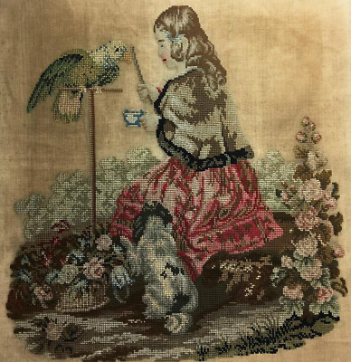 """Antique Victorian 19"""" Needlepoint Embroidery Sampler, Queen Victoria, Dog Parrot"""