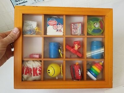 Vintage 70's 80's 90's Collectible Keychains set of 12 in framed box