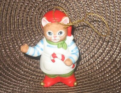 Vintage Kitty Cucumber Christmas Jb Buster With Candy Cane Ornament