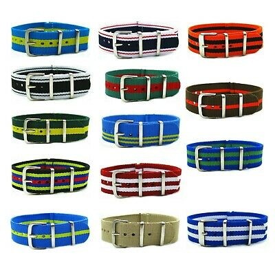 HNS Ballistic RAF Nylon Mod Fashion Stripe/Solid SS Watch Replacement Strap/Band