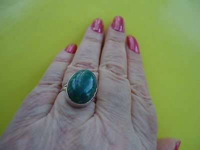 925 Sterling Silver Overlay Ring With Green Malachite? Gemstone Size 7.5  #R3.