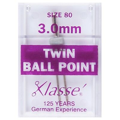 KLASSE TWIN BALL POINT SIZE 80/12 WITH 3.0mm GAP SEWING MACHINE NEEDLE- PK OF 1