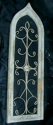 """Wooden Antique Church WINDOW Frame Primitive Wood Metal In Lay 38.5""""  NOT REPRO"""