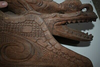 ORIG $449 PAPUA NEW GUINEA RITUAL PROTECTION FIGURE, 26in heavy hdwd. prov