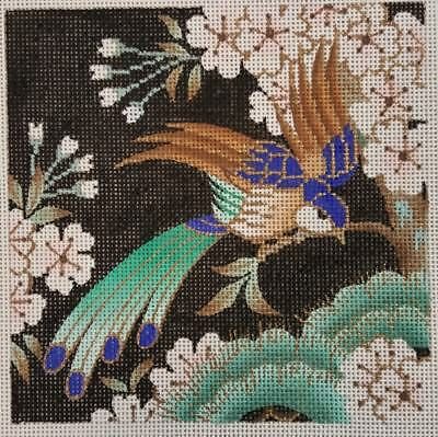 """Handpainted Needlepoint Canvas by Lee, Bird with Cherry Blossoms, 7""""x7"""""""
