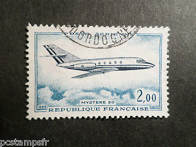France 1965 Stamp Aerial 42, Plane Mystere 20, Aerienne, Obliterated Airmail