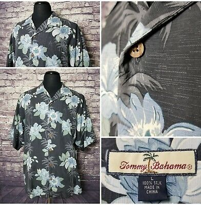 Exc Cond Tommy Bahama Men's Size L Silk Gray Stunning Blue Floral Button Shirt