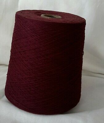 Cone 3 of 2ply Knoll Lambswool, in Burgundy. Weighing approx 734g