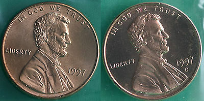 1997 P and D Lincoln Cent 2-Coin from US Mint Set UNC Cello One Cent Penny Set