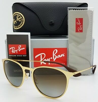 07d327e084 NEW Rayban Erika Metal Sunglasses RB3539 112 T5 54 Gold Brown Gradient  Polarized