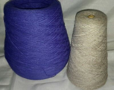 Job lot 13 craft room clearance, 2 large cones of 1/2ply yarns weighs over 818g