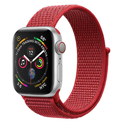 Für Apple Watch Nylongewebte Band Nylon Sport Loop Armband 4 3 2 1 42/44mm Rot
