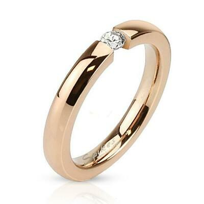 Stainless Steel Ring Rose Gold with Zirconia 3mm Wide Band Ring