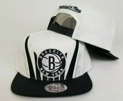designer fashion 899ac 90f95 Mitchell   Ness NBA White   Black Brooklyn Nets Adjustable snapback Hat Cap