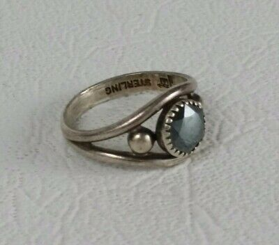 Vintage Fred Harvey Era Navajo Sterling Silver 925 Signed Ring Black Onyx Opal