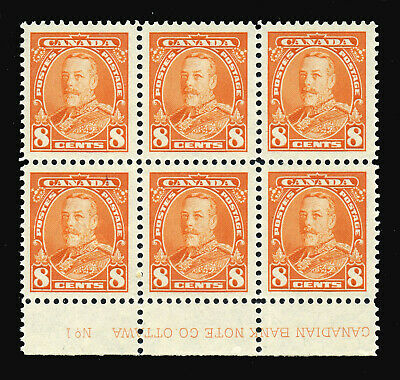 Canada  #222  PB of 6  XVF NH *KG V PICTORIAL - 8c deep orange* Mint