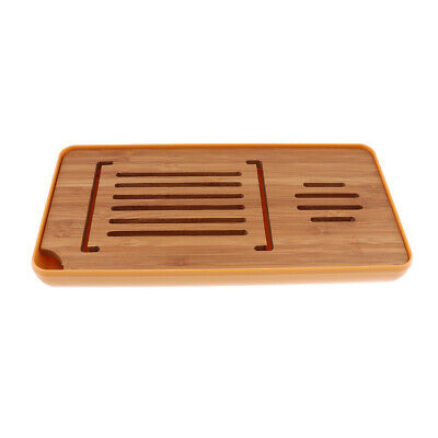 Bamboo Kungfu Tea Serving Tray with StoneTabletop Teatable Table 39x17cm