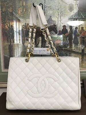 9bc0869d6029 ❤CHANEL❤White Quilted Caviar Leather❤ GST Grand Shopping Tote Handbag 100%  Auth