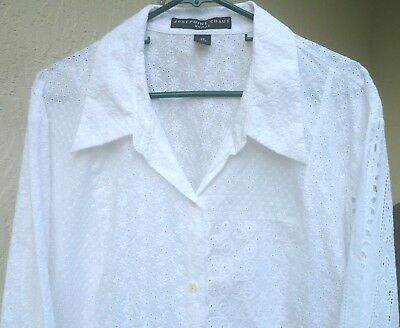 710fd5b8 Vtg Josephine Chaus 2X 24 White Embroidered Eyelet Cotton Button Up Blouse  Women