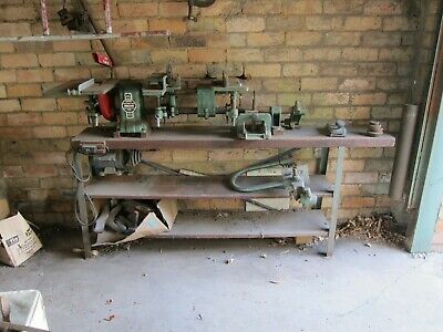 Vintage Wood working Lathe with work bench and 2 boxes assorted tools