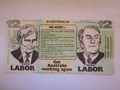 Australian Political Advertising Non Legal Labor Party $12 Note Malcolm Fraser