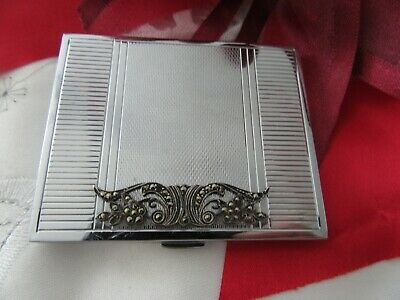 Stunning Collectable, Silver Tone Powder Compact  With Marqusite Detail