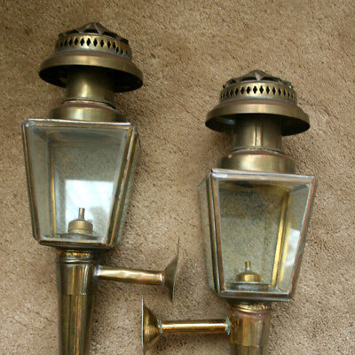 128Handsome Matched Pair of Antique Brass Carriage Lanterns, with Bracket Mounts