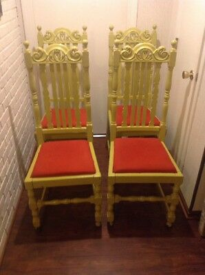 Antique Hand Carved Walnut Set of 4 Chairs | Dining Room Furniture