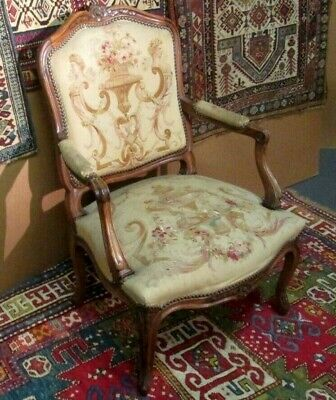 Antique Louis Xv Style Fauteuil In Aubusson Upholstery Handsome Vito Bell Estate