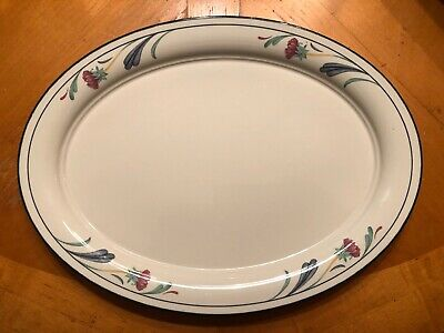 "Lenox Chinastone Poppies On Blue 10 3/4"" X 14 1/4"" Oval Serving Platter"