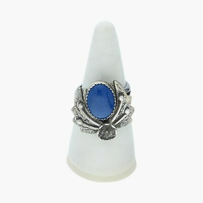navajo / sterling silver vintage signed lapis flower / ring 6.75 (8g)
