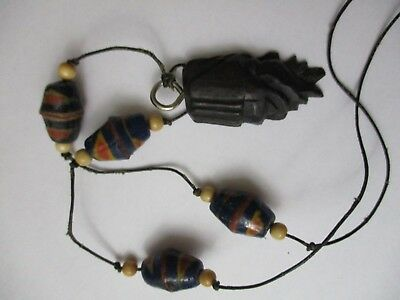 Carved wood bead necklace clay Vintage Double Face two headed  charm handmade
