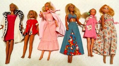 Vintage 1960's Lot of 6- Barbie, Skipper, Francie dolls and Clothes