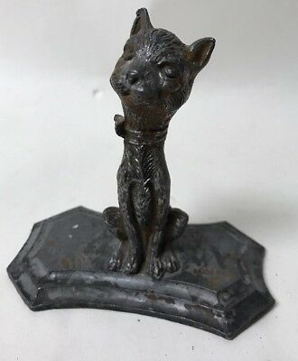 Vintage Art Deco Cold Painted Spelter Metal Stylized Figural Cat Figurine Statue
