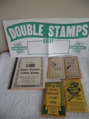 Double Discount Trading Stamps~5000 Unused~Redemption Books~1955 Store Poster