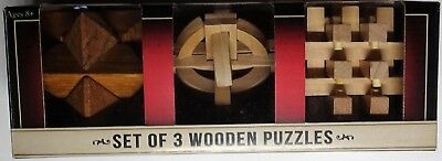 WOODEN PUZZLES - Set of 3 - Artistic - Challenging Brain Teaser Puzzles