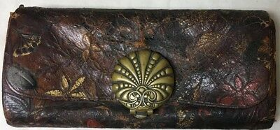 Antique Embossed Leather Bug Flowers Change Purse Wallet Pat. 1878