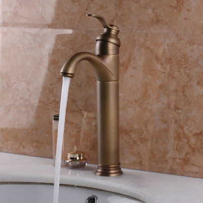 1 Handle Spout Antique Brass Swivel  Bathroom Sink Vessel Faucet Basin Mixer Tap