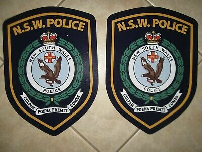Nsw Police Magnets X 2 - 30 Cm X 22 Cm Obsolete/defunct  Brand New