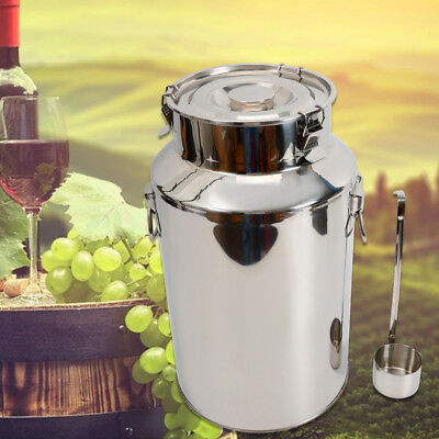 22/28/35L Stainless Steel Barrel Drum Wine Beer Whiskey Storage Oil Rice Tank HQ