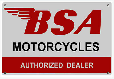 """New BSA Motorcycles Authorized Dealer Shop 12"""" x 18"""" Sign"""