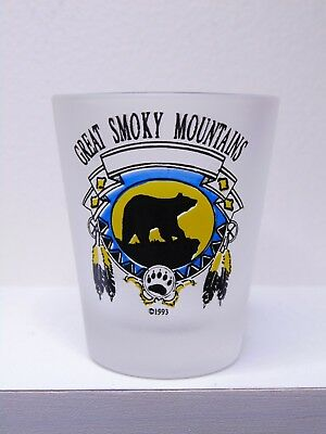 Great Smoky Mountains With Bear & Bear Paw Frosted Shot Glass