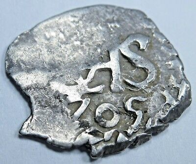 1705 Spanish Silver 1/2 Reales Cob Piece of Eight Real Colonial Treasure Coin