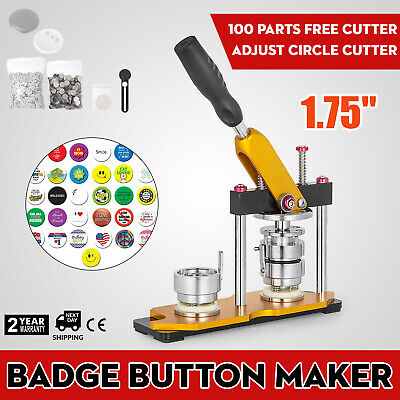 44mm(1.75'') Button Badge Maker Press Machine 100Pcs Clothes Badge Key Rotate