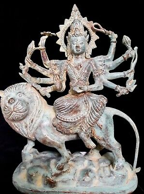Kali Goddess On Lion Bronze Brass Durga Statue Hindu multi hand Meditation Art
