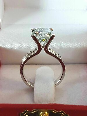 5.50 Ct White Round Cut Diamond Wedding Engagement Ring 14K White Gold Finish