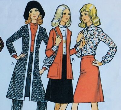Vintage 70's LONG COAT / CARDI / BLOUSE / SKIRT Sewing Pattern SIZE 18 (ST3436)